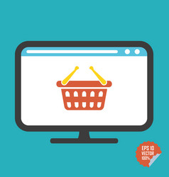 Shopping basket on screen flat icon vector