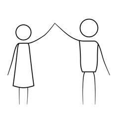 Sketch thin contour of pictogram couple clashing vector