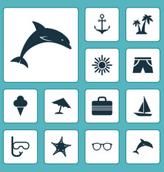 Sun icons set collection of star baggage mammal vector