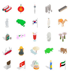 tourist attraction icons set isometric style vector image vector image