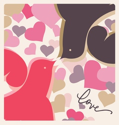 Kissing doves valentine poster vector
