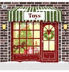 Christmas toy shop toy store building facade vector