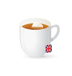 Tea bag in white cup vector