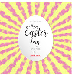 Happy easter day design egg banner and happy vector