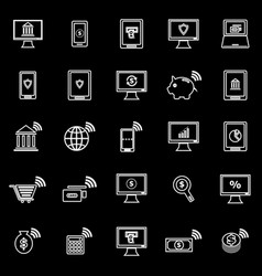 Online banking line icons on black background vector