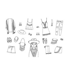 Bohemian fashion style set boho and gypsy clothes vector
