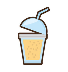 cartoon fruit smoothie plastic cup straw vector image