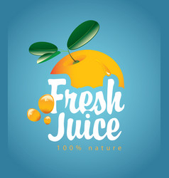 Banner with orange fruit and fresh juice splash vector