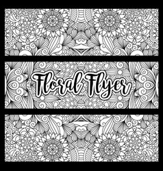 Horizontal floral flyer with handdrawn pattern vector