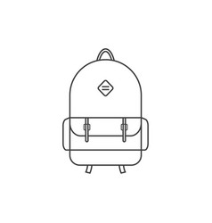 Thin line black backpack icon vector