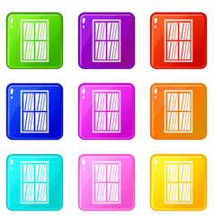 White latticed rectangle window set 9 vector