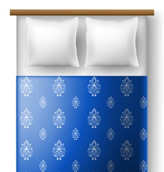 Bed from top view with pillows vector