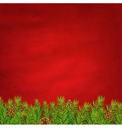 Retro Red Background And Fir Tree vector image