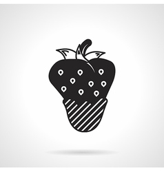 Strawberry dessert black icon vector