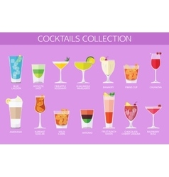 Set of alcohol cocktails icons flat style design vector