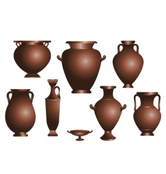 Set of amphorae vector