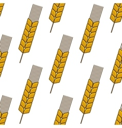 Yellow wheat ears seamless pattern vector