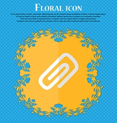 Clip to paper floral flat design on a blue vector