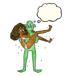 Cartoon swamp monster carrying woman in bikini vector