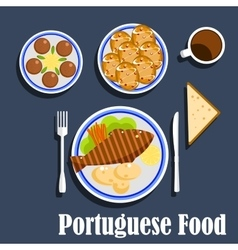 Portuguese national cuisine food and desserts vector