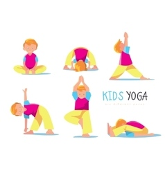 Yoga kids set vector