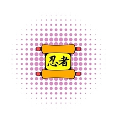Ancient chinese scroll icon comics style vector