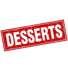 Desserts red square grunge stamp on white vector