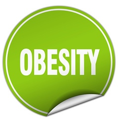 Obesity round green sticker isolated on white vector