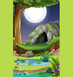 background scene with cave at night vector image vector image