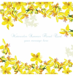 Beautiful Watercolor Yellow flowers card vector image vector image