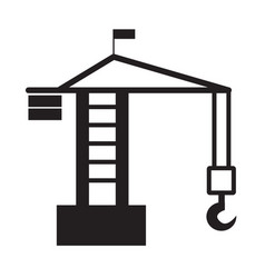 Building crane icon on white background tower vector