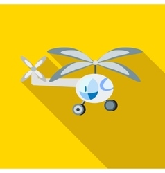 Childrens helicopter icon flat style vector