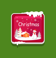 Christmas web button covered with snow icon vector