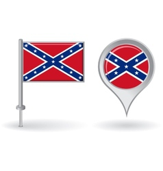 Confederate pin icon and map pointer flag vector