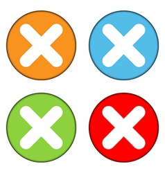 Delete sign button set vector image