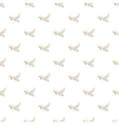 Dove with olive branch pattern vector