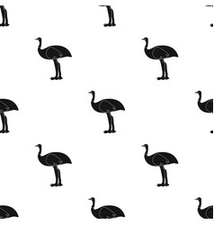 emu icon in black style isolated on white vector image