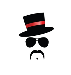 face with mustache with red hat vector image vector image