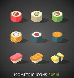 Flat isometric icons sushi vector