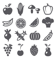 Fruits and vegetables icons vector image