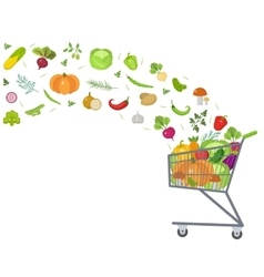 Full trolley cart with fresh vegetables flat vector