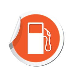 Gas station icon orange sticker vector