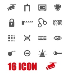 grey security icon set vector image
