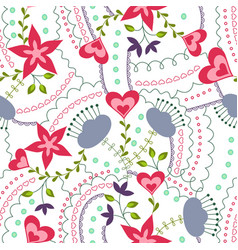 hearts and flowers colorful on white vector image vector image