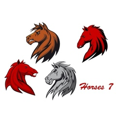Horse stallions cartoon characters vector