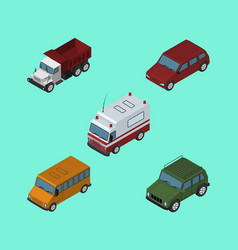 Isometric car set of car first-aid freight and vector