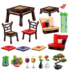 Living room interior elements vector