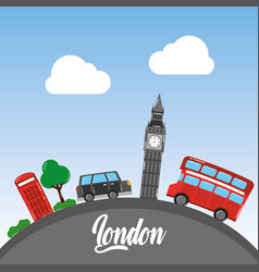 london big ben double decker bus taxi telephone vector image
