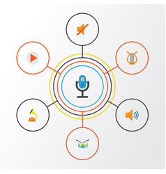 music flat icons set collection of sonata vector image vector image