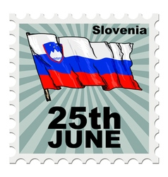 Post stamp of national day of slovenia vector